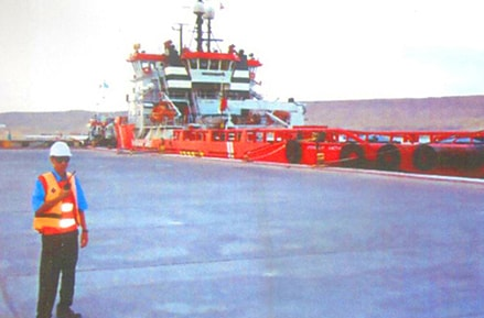 Морской порт Баутино, проверка зоны разгрузки